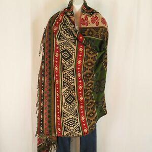 Yak+Sheep Blend Tribal Shawl/Throw  Handloomed Reversible Colors: Red & Green
