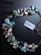 NWT J. Crew 100% Authentic Mixed Stones Scenic Aqua Gold Plating Necklace & Bag