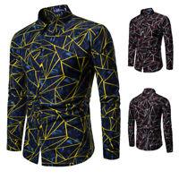 Men Casual Long Sleeve Shirt Business Slim Fit Shirt Print Blouse Tops Fashion