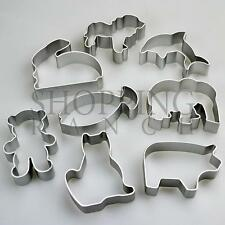 Set of 8 Cute Animal Shapes Cookie Cutters – Dog Cat Rabbit Bear Fish (Metal)