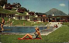 1971 Stempel LEYSIN auf AK Schweiz La Piscine Frau sonnt sich im Freibad