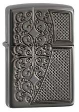 "Zippo ""Filigree"" Deep Carved Black Ice Chrome Full Size Lighter, Armor, 29498"