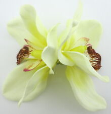 Double Cream White Orchid Silk Flower Hair Clip with Teeth