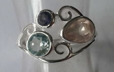 Blue Not Enhanced Sterling Silver Fine Rings