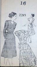 Vtg 1940s Mail Order 2285 Scallop Peplum Sweetheart Suit Dress Sewing Pattern 16