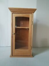 """14"""" x 6.5"""" Essential Oil Hanging Storage Case Real Wood W/ Clear Glass Door"""