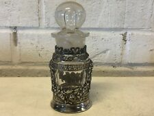 Antique Webster Silver plate and Glass Perfume Bottle with Floral Dec. & Holder
