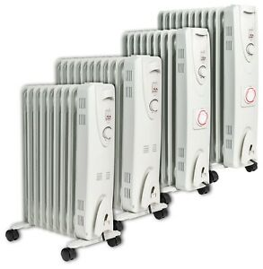 Oil Filled Radiator Electric Space Heater Portable With Timer Eco Thermostat