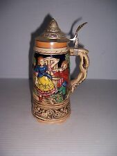VINTAGE LIDDED BEER STEIN WITH MUSIC BOX AND GERMAN DANCING FLUTE PLAYING SCENE