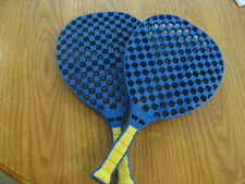 Pair of Vintage Blue Plastic Big Face Checkerbat Racquetball Rackets