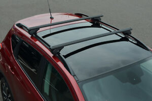 Black Cross Bars For Roof Rails To Fit Seat Alhambra (2010+) 100KG Lockable