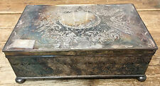 Etched Silverplate Antique Cigar Humidor Wooden Interior Box Signed J & F HELP ?
