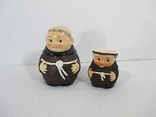 Friar Tuck Creamer Sugar Bowl Spoon Goebel Figural Brown Robe Monk Set of 3 SetB