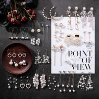 Women Hook Pendant Dangle Drop Earrings Jewelry Peal Wedding Eardrop