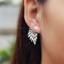 Hot Rhinestone Hook Ear Stud Hoop Fashion Womens Angel Feather Wing Earrings