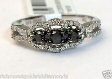 White Gold Past Present Future Three Stone Halo Black Diamonds Engagment Ring
