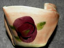 Hilborn signed pinch pot Canada handmade & painted pink w/purple flower UNUSED