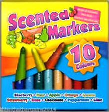 BRAND NEW ART BOX 10 ASSORTED COLOURS SCENTED MARKERS  KIDS ART CRAFT COLOUR PEN
