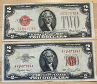 US Paper Currency $2 Collection 1928 $2 Dollar Red & 1953 $2 Dollar Red Seals