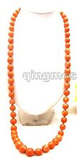 "10-15mm Round Orang Natural Coral 38"" Sweater Long Necklace for Women-nec5365"