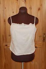 1MAX  beige stretch cotton camisole vest t-shirt top frill 16 44