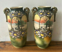 Pair of 2 Antique Japanese Painted Porcelain Satsuma Moriage Handled Vases - 10""