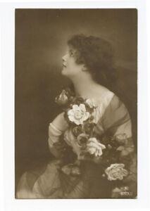 1910s Glamour PRETTY LADY European photo postcard