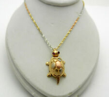 Lucky 14k Multi Tone Gold Tortoise Turtle movement Slide Charm Pendant Necklace