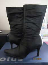 Stunning Lotus Black Soft Leather Heeled Boots with Lovely Detail - size UK 6