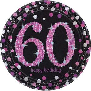 8 x Pink Celebration Age 60 Paper Plates pink & Black 60th Birthday tableware