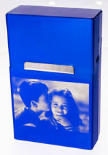 Zigarettenbox Aluminium blau mit Fotogravur mit deinem Wunschfoto Zigarettendose