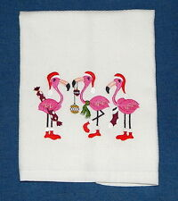 Very Merry Flamingo Christmas Embroidered Kitchen Towel