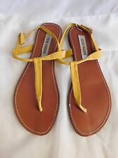 Steve Madden Yellow Tan Leather T-Strap Thong Buckled Flat Sandals - Size 8.5