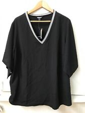 NWT Project Runway Woman Black V Neck Short Sleeve Blouse Top 1X