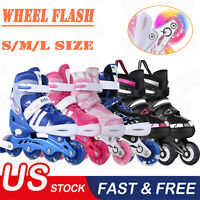 Kids Inline Skates Adjustable Roller Blades Shoes Sport Skate for Boy&Girl S/M/L