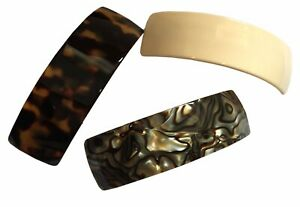French Amie Handmade Curved Medium Automatic Strong Grip Hair Clip Barrette