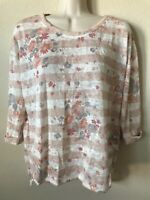 NWT LC Lauren Conrad Round Neck Rolled Sleeve Striped Floral Womens Blouse Top M
