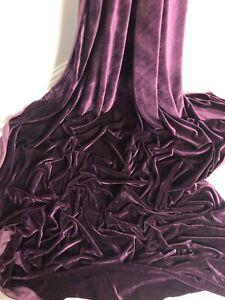 """3 mtr purple velour velvet fabric..58"""" wide (147cm) dress,upholstery etc C"""
