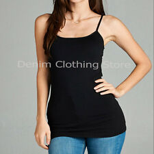 Women's Plus Size Cami Plain Tank Top Long Spaghetti Straps Camisole Layering