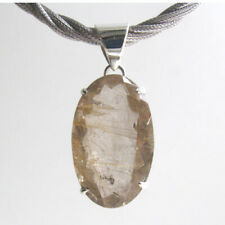 Large Faceted Oval Golden Rutilated Quartz Pendant set in Sterling Silver