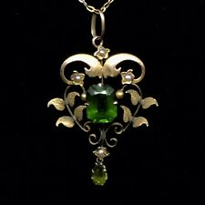 FINE ART NOUVEAU PENDANT 9CT NAT SEED PEARLS AND GREEN PASTE STONES