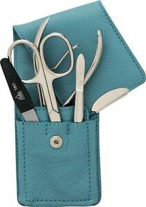 Sea Blue Manicure Case Real Leather Becker-Manicure Erbe Solingen Manicure Set