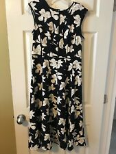 New Ann Taylor  Women's 4TALL  FLORAL MULTI  DRESS UNLINED BLUE,BLACK BEIGE