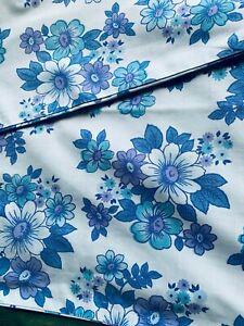 2 x Vintage Pillowcases  - Blue floral Cotton -  Sparva