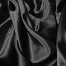 "20 Yard Lot BLACK #27 Charmeuse Satin 100% Polyester Fabric Wholesale 60"" W"