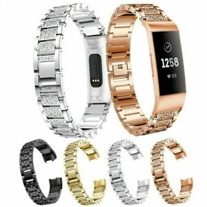 For Fitbit Charge 2 Band Stainless Steel Crystal Wristband Metal Link Bracelet