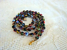 Vintage Venetian Millefiori Murano glass smal bead necklace 24 inches long