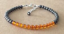 Silver Plated, Friendship Bracelet Orange Amber Copal+Black Hematite Beaded,