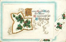 BB London Christmas Calligraphy~Holly Berry in Gold Leaf Silhouette~Emboss~1913