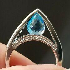 Modern Fashion Blue Topaz Diamond 18k white gold ring/band
